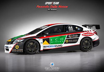area75 diseña y está presente en el Honda Civic de TC2000 de Facundo Della Motta y SportTeam